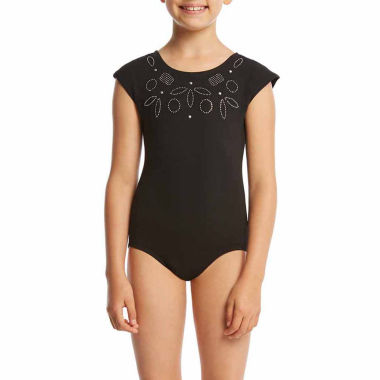 Jacques Moret Short Sleeve Rhinestone Leotard - Girls' 6-16