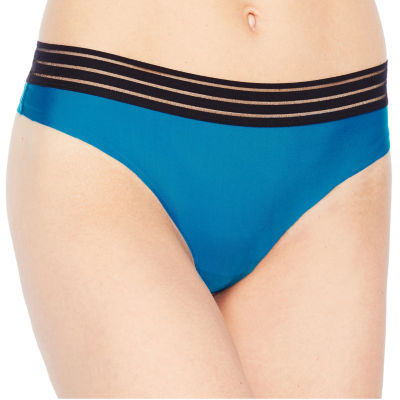 AMBRIELLE NO SHOW THONG WITH SHADOW STRIPE WAIST BAND