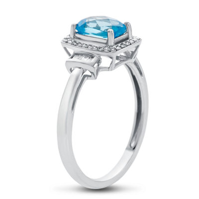 Womens 10K Gold Genuine Blue Topaz & 1/8 CT. T.W. Diamond Cocktail Ring
