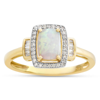 Womens 10K Gold Lab-Created Opal & 1/8 CT. T.W. Diamond Cocktail Ring