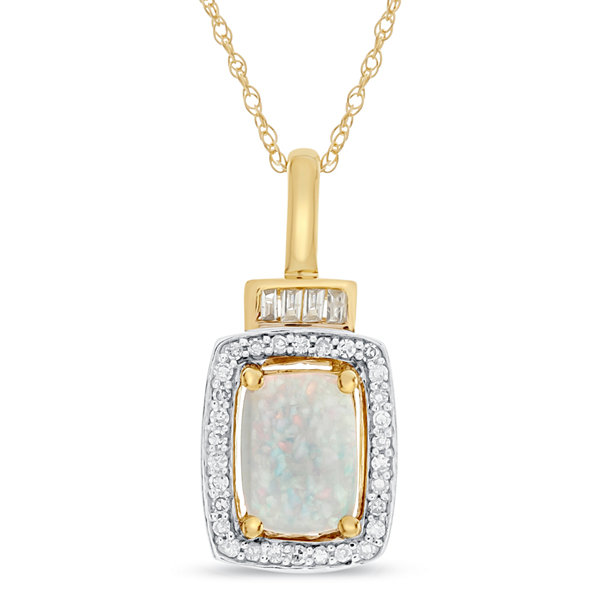 Womens 10K Gold Lab-Created Opal & 1/4 CT. T.W. Diamond Pendant Necklace
