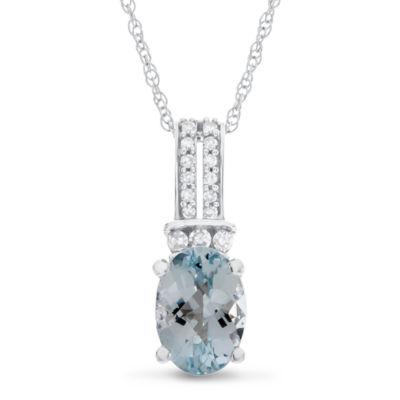 Womens Genuine Blue Aquamarine 10K Gold Pendant Necklace