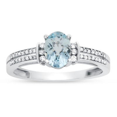 Womens Genuine Aquamarine & 1/8 CT. T.W. Diamond 10K Gold Cocktail Ring