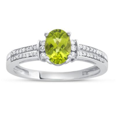 Womens Genuine Peridot & 1/8 CT. T.W. Diamond 10K Gold Cocktail Ring