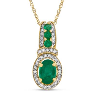 Womens Genuine Green Emerald 10K Gold Pendant Necklace