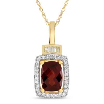 Womens Genuine Brown Garnet 10K Gold Pendant Necklace