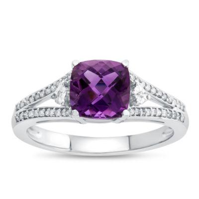 Womens Genuine Amethyst & 1/10 CT. T.W. Diamond 10K Gold Cocktail Ring