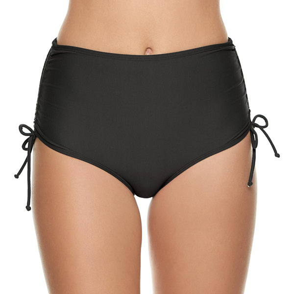 Arizona Solid High Waist Swimsuit Bottom-Juniors
