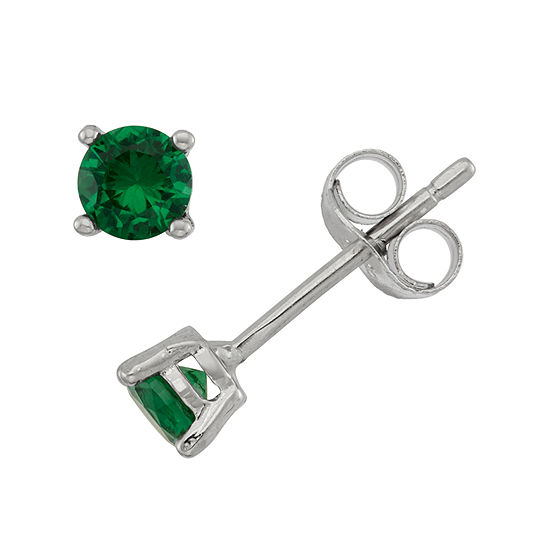 Lab Created Green Cubic Zirconia Sterling Silver 4mm Stud Earrings
