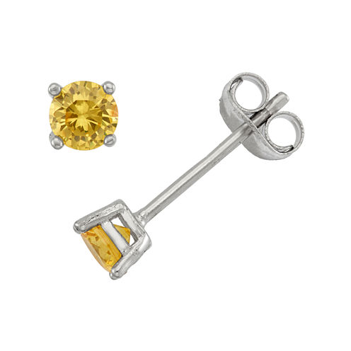 Round Yellow Cubic Zirconia Sterling Silver Stud Earrings