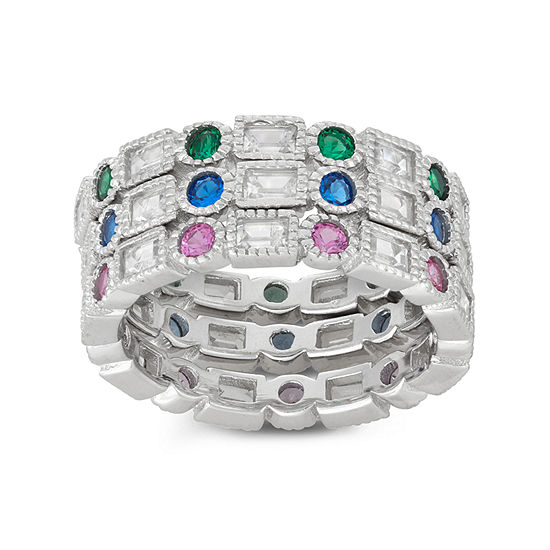 Diamonart Womens 4 CT. T.W. Lab Created Blue Cubic Zirconia Sterling Silver Stackable Ring