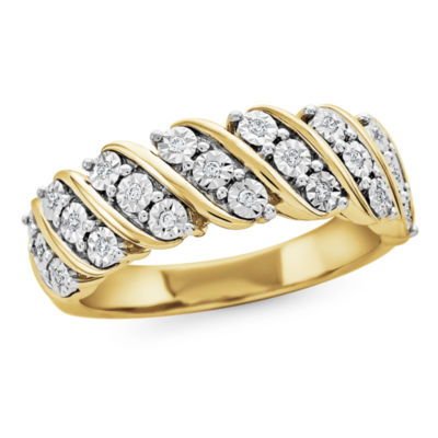 Womens 1/10 CT. T.W. White Diamond Gold Over Silver Band