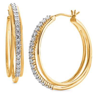 1/10 CT. T.W. White Diamond 14K Gold Over Silver Hoop Earrings