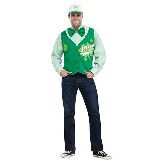 St. Patrick'S Day All Star Deluxe Vest Hat And Tie