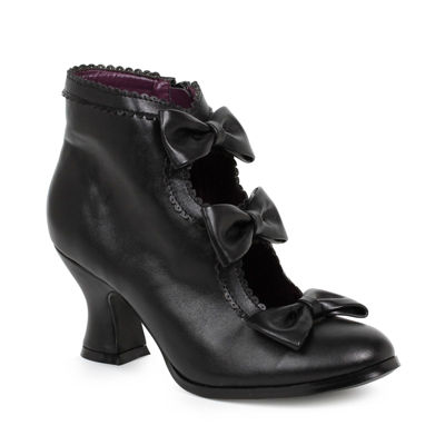 Women's Black Ankle Boots with Bows