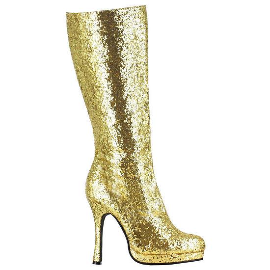 Gold Glitter Boot W/ Inside Zipper Adult 1 Pair Dress Up Costume Womens