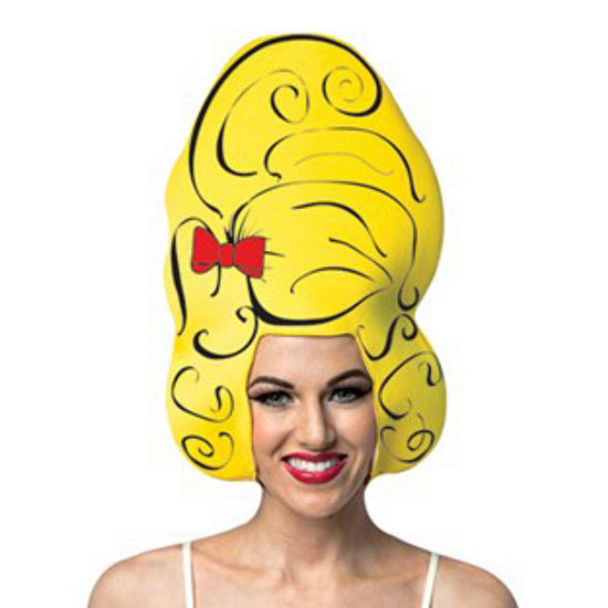 Yellow Beehive Comic Foam Adult Wig Womens Dress Up Accessory