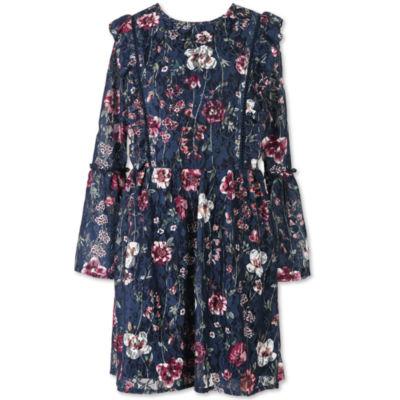 Speechless Short Sleeve Cold Shoulder Sleeve Peasant Dress - Big Kid Girls