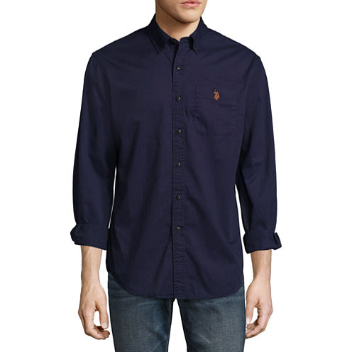U.S. Polo Assn. Long Sleeve Slim Fit Twill Button-Front Shirt
