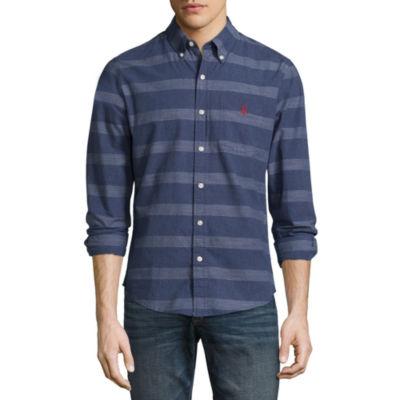 U.S. Polo Assn. Long Sleeve Slim Fit Poplin Button-Front Shirt