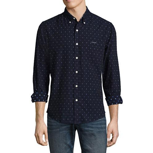 U.S. Polo Assn. Long Sleeve Slim Fit Swiss Dot Button-Front Shirt