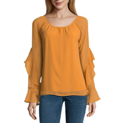 Heart N Soul Long Sleeve Round Neck Chiffon Floral Blouse-Juniors