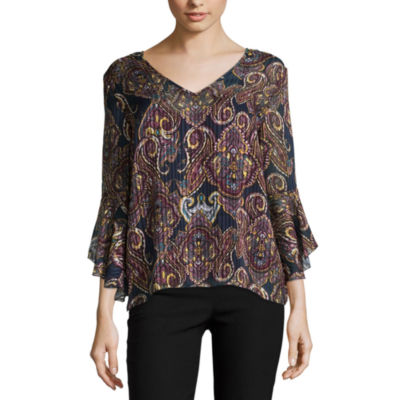 by&by Womens V Neck 3/4 Sleeve Chiffon Lace Up Blouse-Juniors