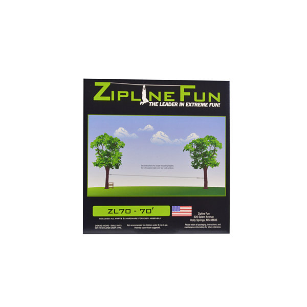 Adventure Parks Zip Line Fun ZL70 Zip Line - 70' (Green Trolley)