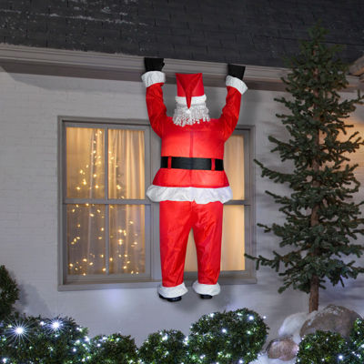 Santa Hanging From Roof Airblown