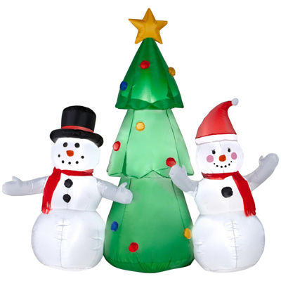 Airblown Snowman Family with Tree