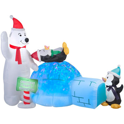 Animated Projection Airblown - Polar Bear and Penguins with Kaleidoscope Igloo