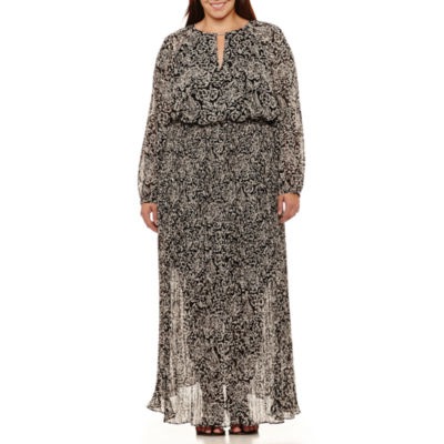 Boutique + Long Sleeve Maxi Dress-Plus