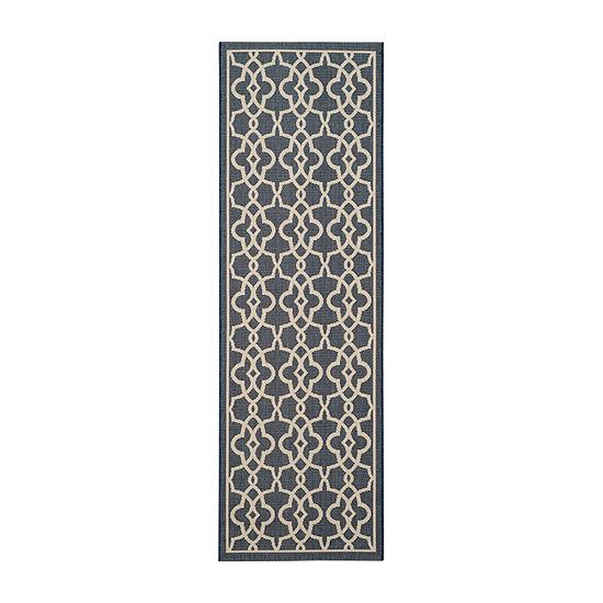 Safavieh Courtyard Collection Ariana Oriental Indoor/Outdoor Runner Rug