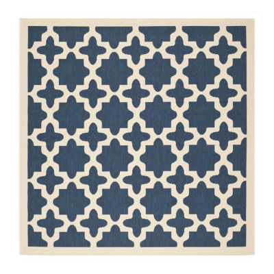 Safavieh Courtyard Collection Bokhara Geometric Indoor/Outdoor Square Area Rug