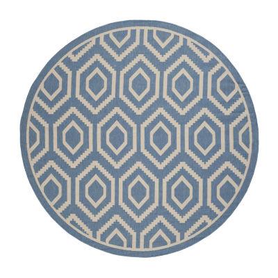 Safavieh Courtyard Collection Carmella Geometric Indoor/Outdoor Round Area Rug