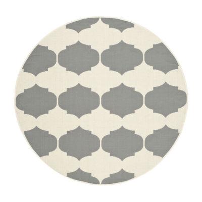 Safavieh Courtyard Collection Celina Geometric Indoor/Outdoor Round Area Rug