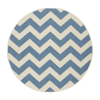 Safavieh Courtyard Collection Cennetig Chevron Indoor/Outdoor Round Area Rug