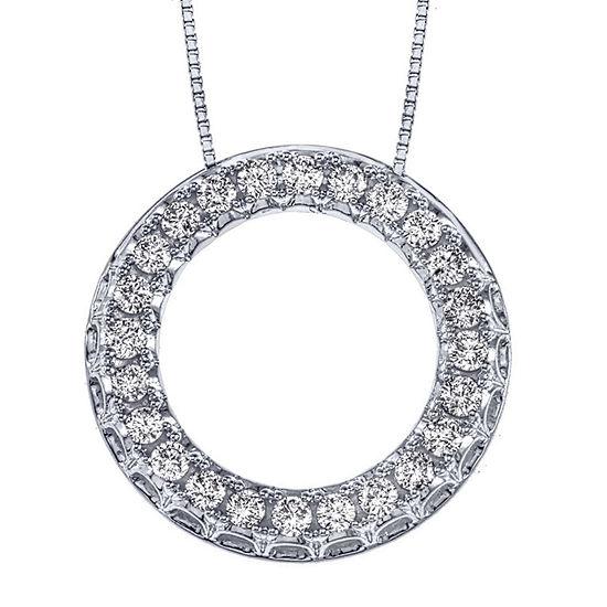 Womens 1/2 CT. T.W. Genuine Diamond 14K White Gold Pendant Necklace