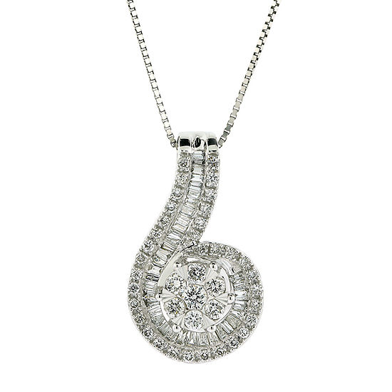 Diamond Blossom Womens 3/4 CT. T.W. Genuine Diamond 10K White Gold Pendant Necklace