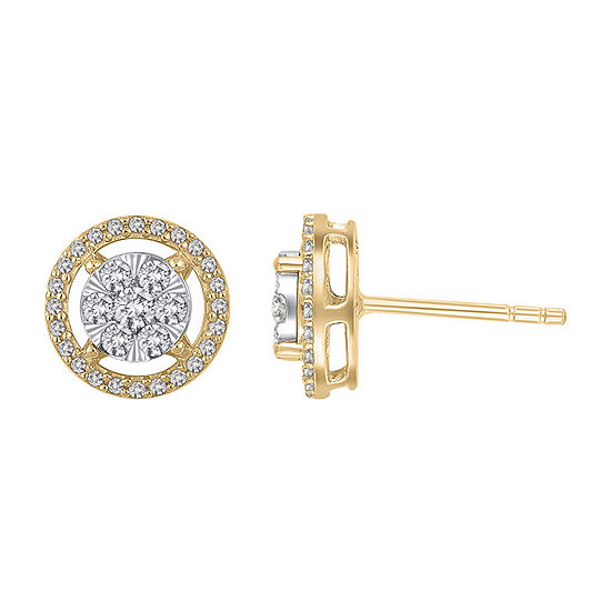 1/2 CT. T.W. Genuine Diamond 14K Gold 9.5mm Stud Earrings
