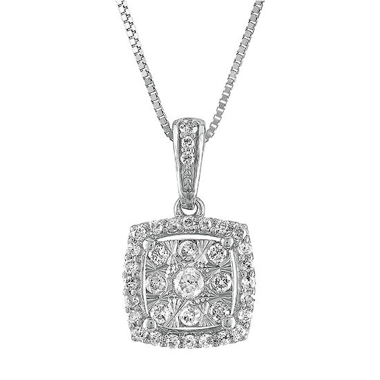 Diamond Blossom Womens 1/4 CT. T.W. Genuine Diamond 10K White Gold Pendant Necklace