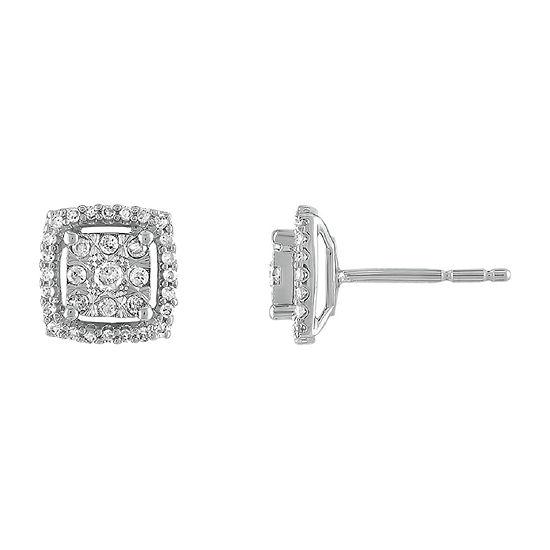 Diamond Blossom 1/4 CT. T.W. Genuine Diamond 10K White Gold 8mm Stud Earrings