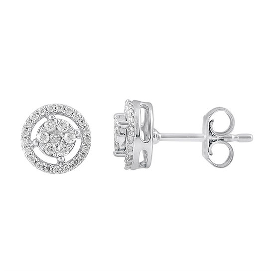 Diamond Blossom 1/4 CT. T.W. Genuine Diamond 10K White Gold 7.7mm Stud Earrings