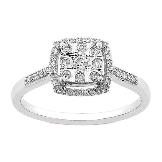 Diamond Blossom Womens 1/4 CT. T.W. Genuine Diamond 10K White Gold Cocktail Ring