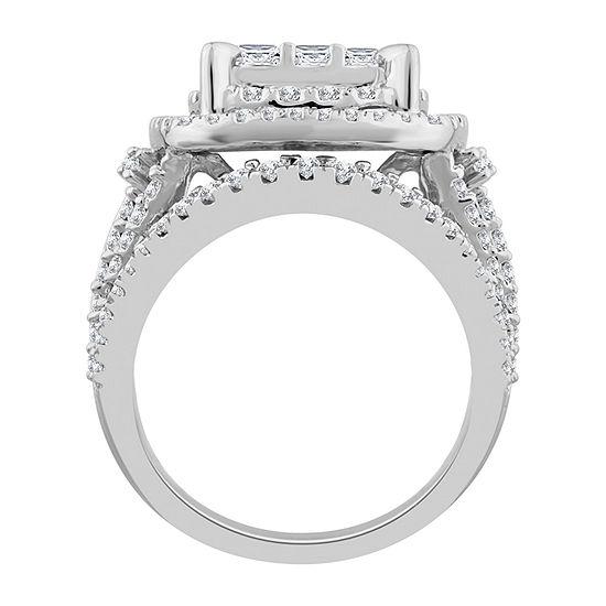 Womens 3 Ct Tw Genuine White Diamond 10k White Gold Engagement Ring