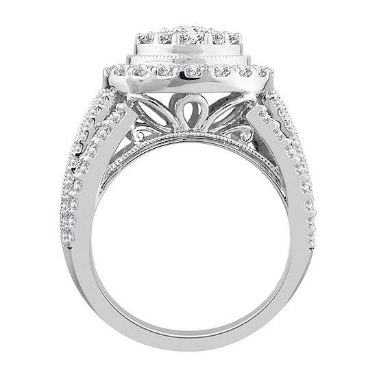 Womens 3 CT. T.W. Genuine White Diamond 10K White Gold Engagement Ring
