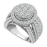 Womens 3 CT. T.W. Genuine White Diamond 10K White Gold Engagement Ring