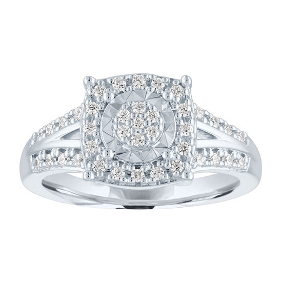 Womens 1/4 CT. T.W. Genuine Diamond Sterling Silver Cocktail Ring