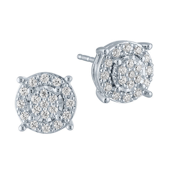 1/4 CT. T.W. Genuine Diamond Sterling Silver Stud Earrings