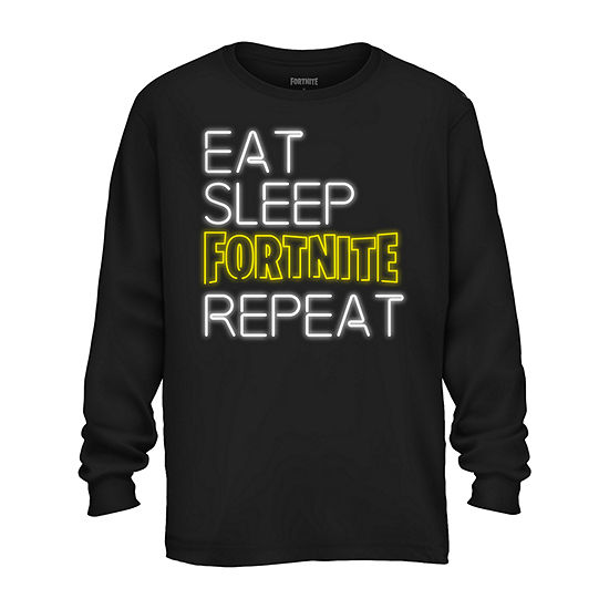 Big Kid Boys Crew Neck Fortnite Long Sleeve Graphic T-Shirt